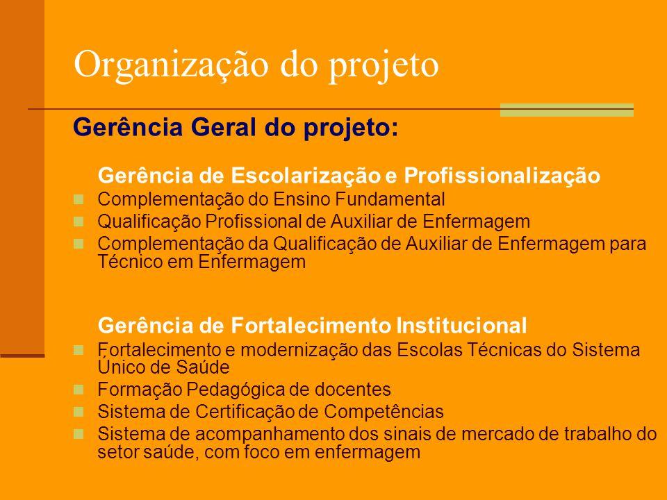 Gerência de Escolarização e Profissionalização Resultados: 319 Escolas Públicas e Privadas participaram do projeto na execução dos cursos 25 instituições públicas/privadas participaram como Agências Regionais Cadastramento de 461 mil atendentes de enfermagem Qualificação de 207.844 mil Auxiliares de Enfermagem Habilitação de 80.124 Auxiliares de Enfermagem em Técnicos de Enfermagem Complementação do Ensino Fundamental para 12 mil trabalhadores Cobertura de 93.5% dos municípios brasileiros.