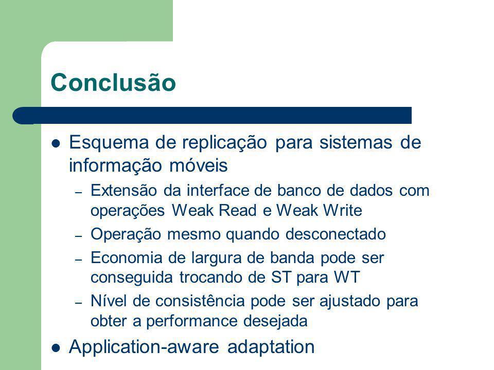 Conclusão Esquema de replicação para sistemas de informação móveis – Extensão da interface de banco de dados com operações Weak Read e Weak Write – Op