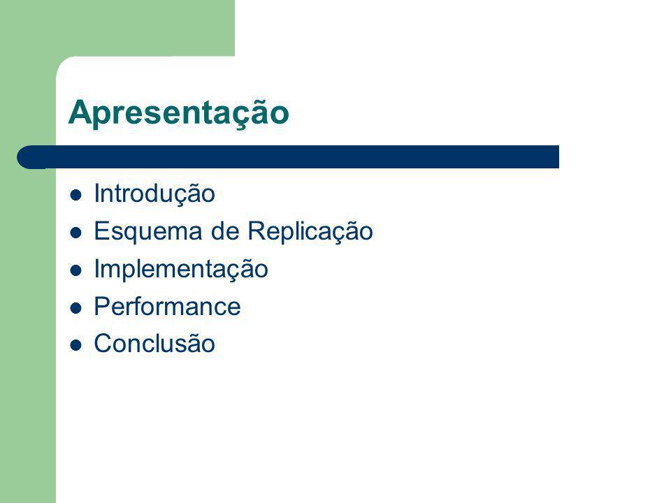 Apresentação Introdução Esquema de Replicação Implementação Performance Conclusão