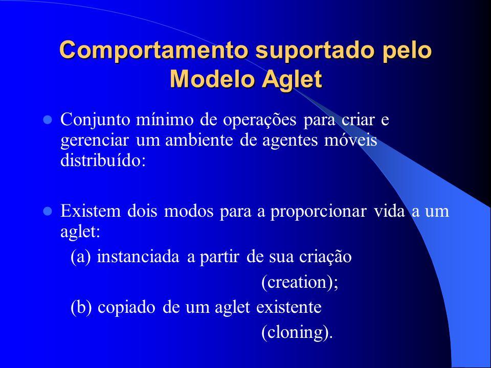 Comportamento suportado pelo Modelo Aglet Conjunto mínimo de operações para criar e gerenciar um ambiente de agentes móveis distribuído: Existem dois modos para a proporcionar vida a um aglet: (a) instanciada a partir de sua criação (creation); (b) copiado de um aglet existente (cloning).