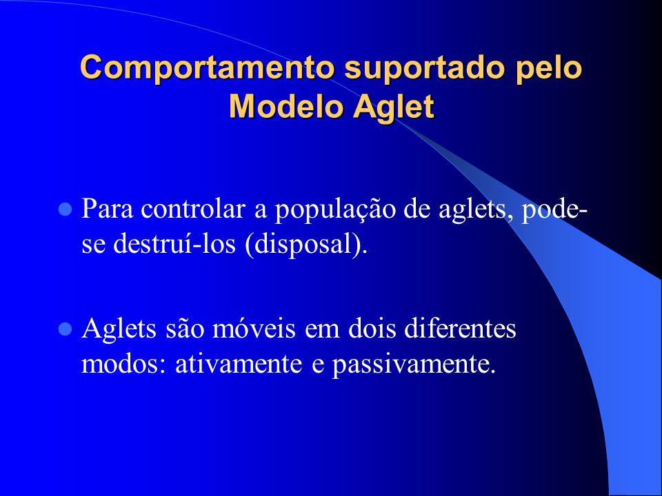 Comportamento suportado pelo Modelo Aglet Para controlar a população de aglets, pode- se destruí-los (disposal).