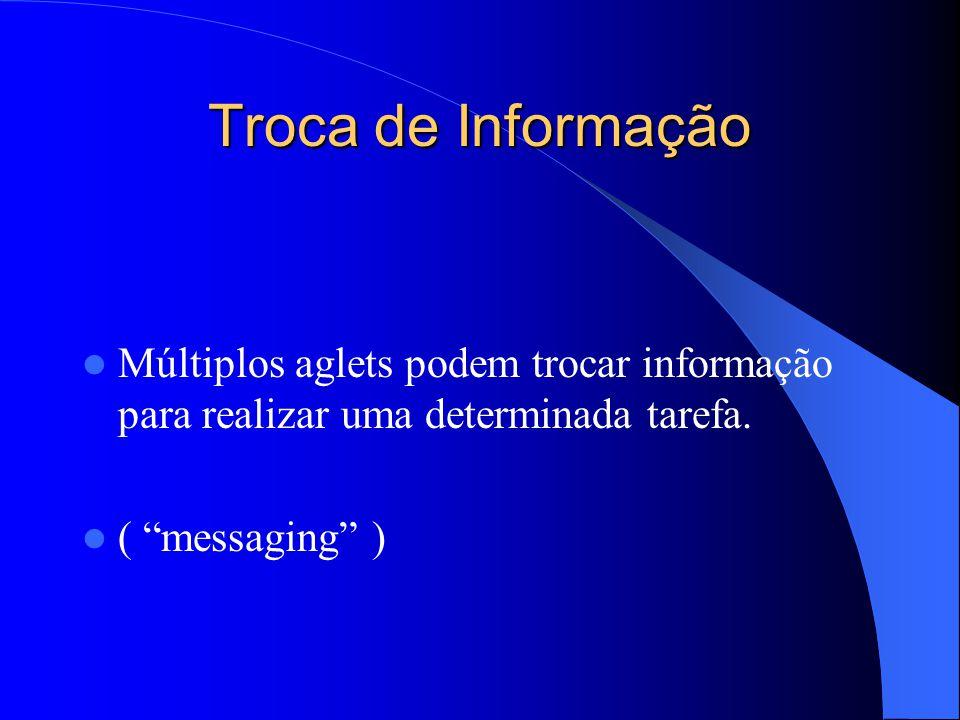 Troca de Informação Múltiplos aglets podem trocar informação para realizar uma determinada tarefa.
