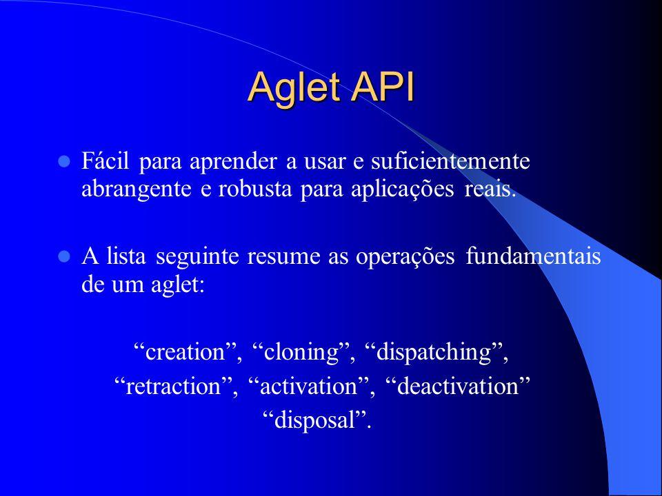 Aglet API Fácil para aprender a usar e suficientemente abrangente e robusta para aplicações reais.