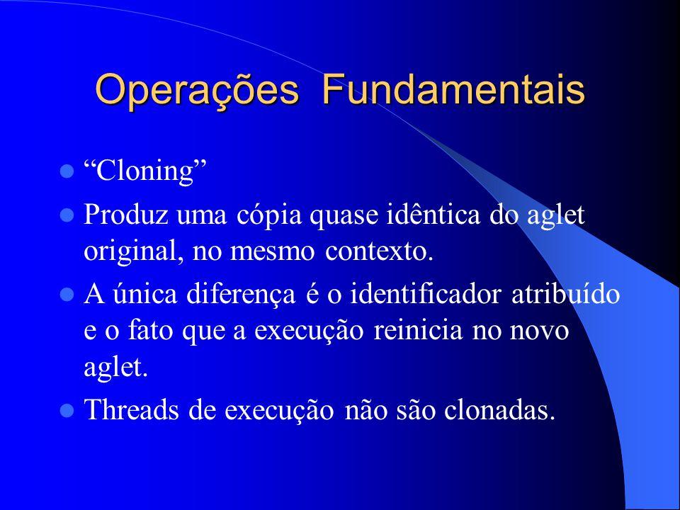 Operações Fundamentais Cloning Produz uma cópia quase idêntica do aglet original, no mesmo contexto.