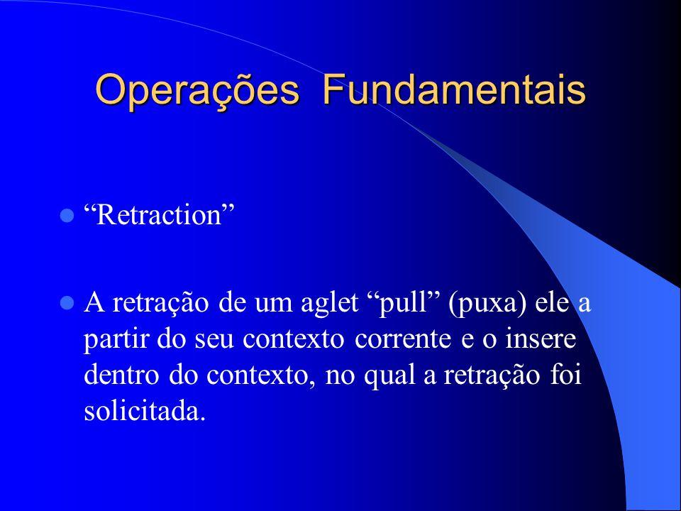 Operações Fundamentais Retraction A retração de um aglet pull (puxa) ele a partir do seu contexto corrente e o insere dentro do contexto, no qual a retração foi solicitada.
