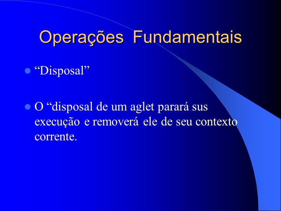 Operações Fundamentais Disposal O disposal de um aglet parará sus execução e removerá ele de seu contexto corrente.