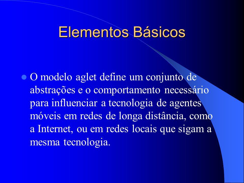 Elementos Básicos O modelo aglet define um conjunto de abstrações e o comportamento necessário para influenciar a tecnologia de agentes móveis em redes de longa distância, como a Internet, ou em redes locais que sigam a mesma tecnologia.