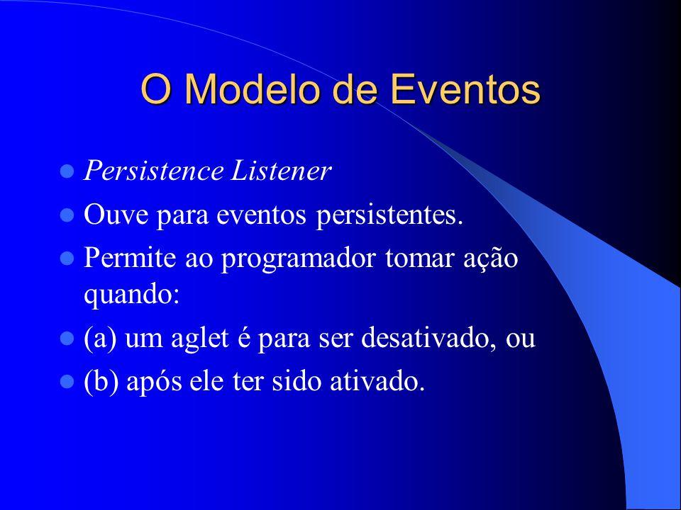 O Modelo de Eventos Persistence Listener Ouve para eventos persistentes.
