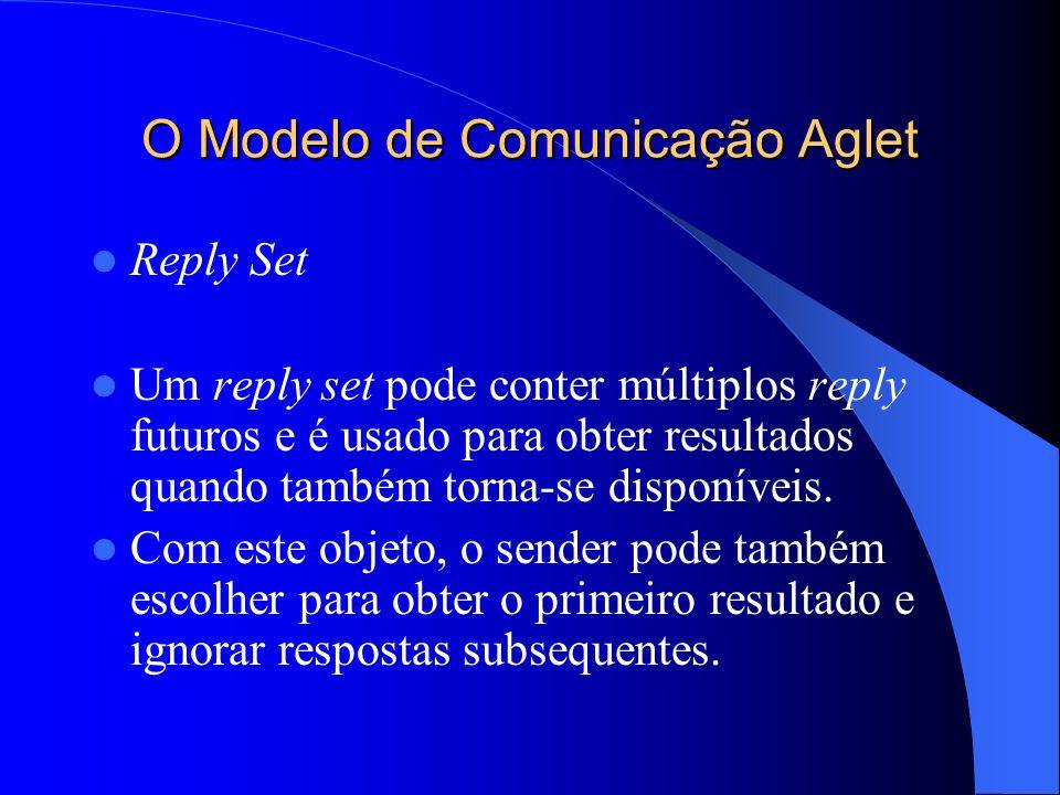 O Modelo de Comunicação Aglet Reply Set Um reply set pode conter múltiplos reply futuros e é usado para obter resultados quando também torna-se disponíveis.