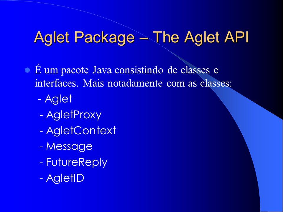 Aglet Package – The Aglet API É um pacote Java consistindo de classes e interfaces.