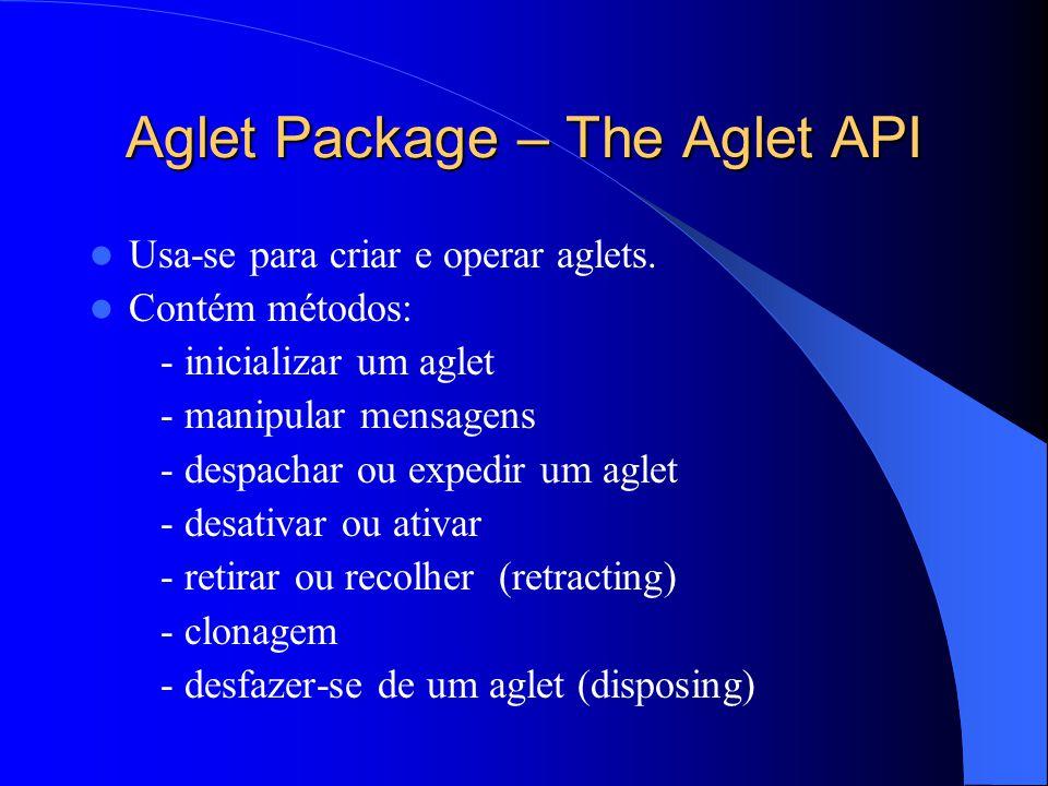 Aglet Package – The Aglet API Usa-se para criar e operar aglets.