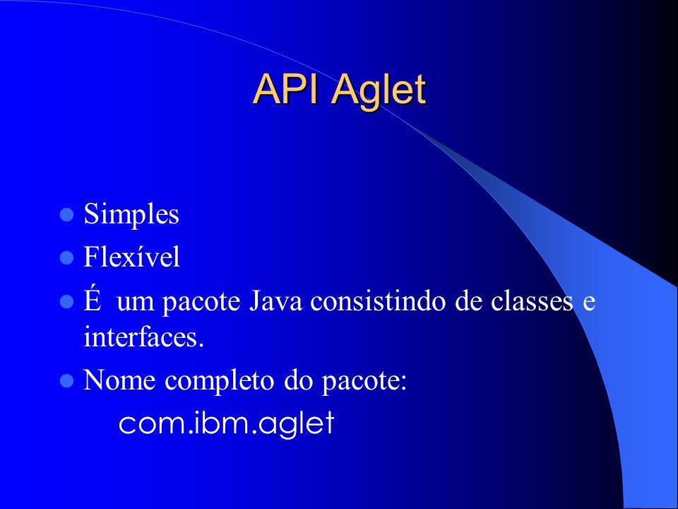 API Aglet Simples Flexível É um pacote Java consistindo de classes e interfaces.