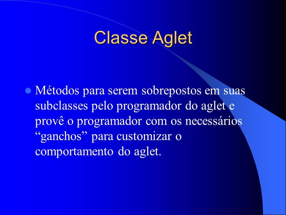 Classe Aglet Métodos para serem sobrepostos em suas subclasses pelo programador do aglet e provê o programador com os necessários ganchos para customizar o comportamento do aglet.