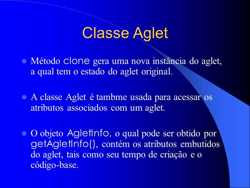 Classe Aglet Método clone gera uma nova instância do aglet, a qual tem o estado do aglet original.