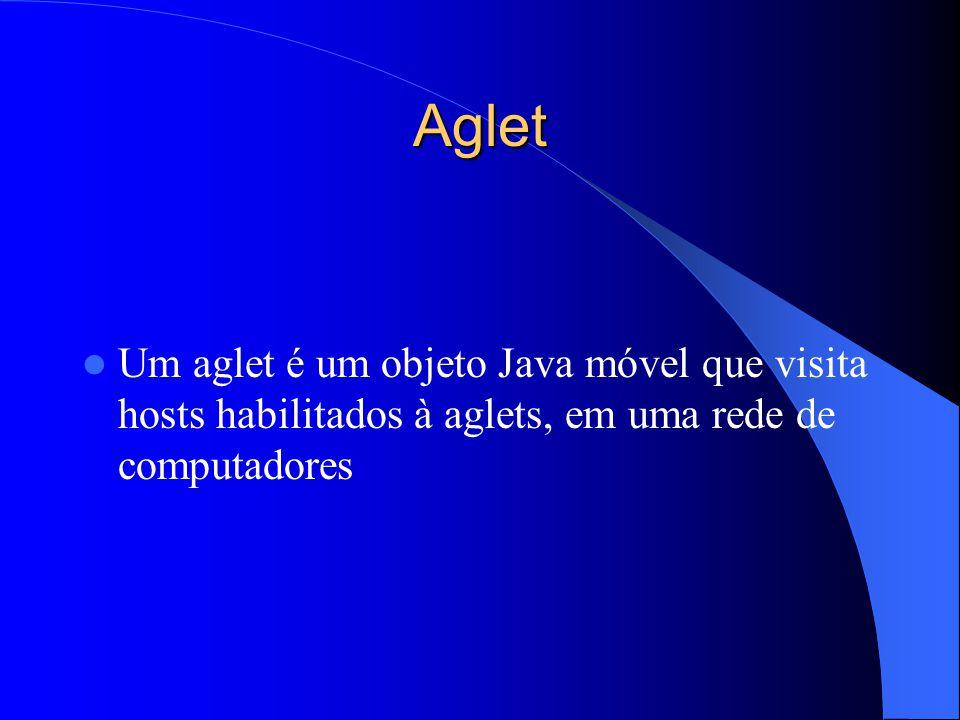 Aglet Um aglet é um objeto Java móvel que visita hosts habilitados à aglets, em uma rede de computadores