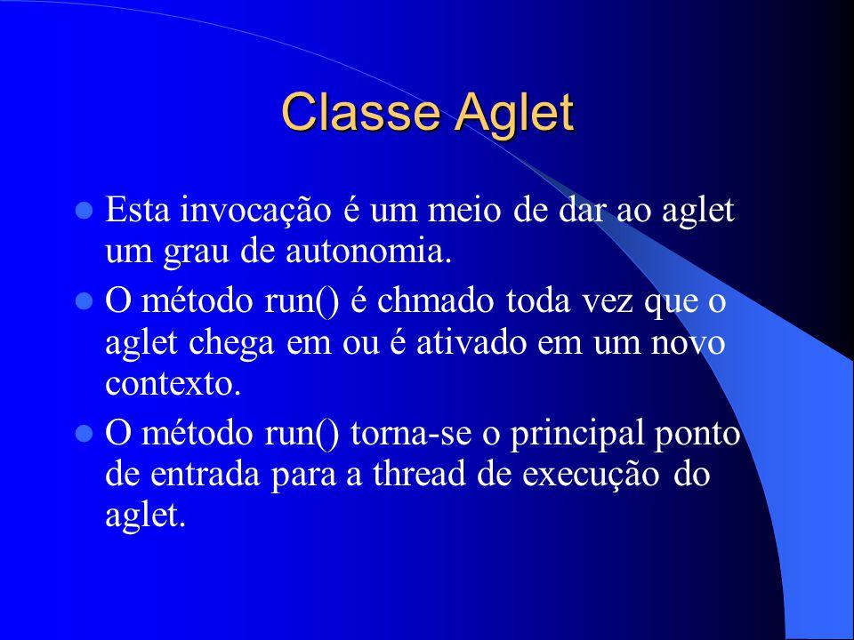 Classe Aglet Esta invocação é um meio de dar ao aglet um grau de autonomia.