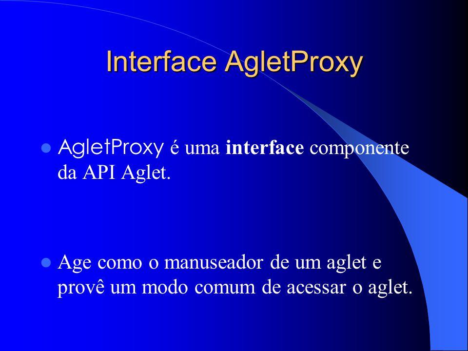 Interface AgletProxy AgletProxy é uma interface componente da API Aglet.