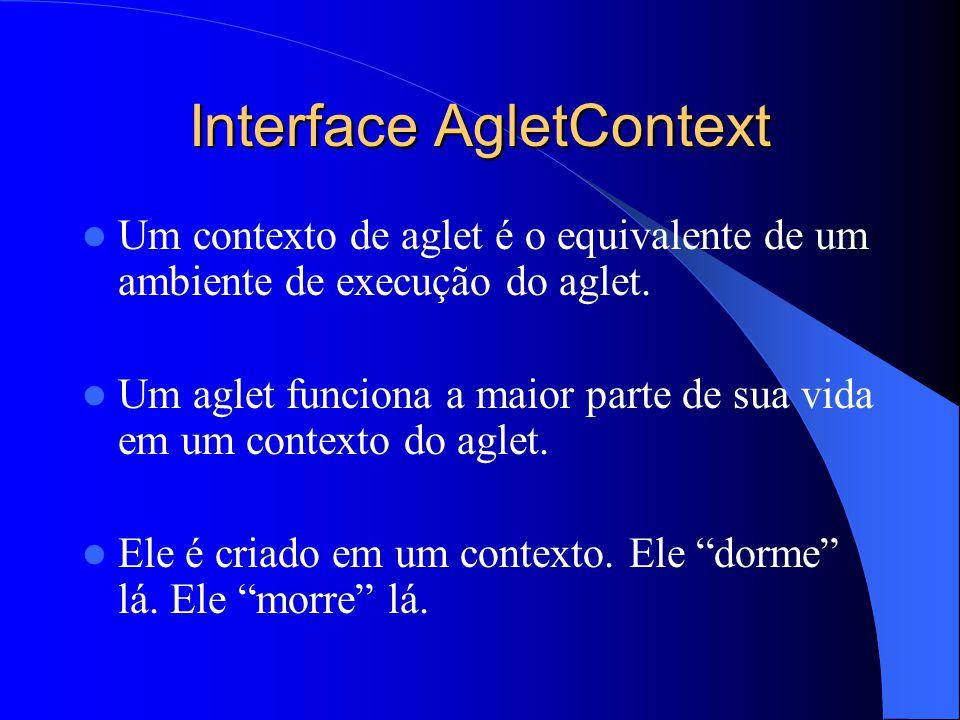 Interface AgletContext Um contexto de aglet é o equivalente de um ambiente de execução do aglet.