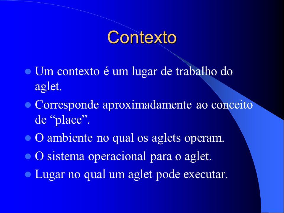Contexto Um contexto é um lugar de trabalho do aglet.