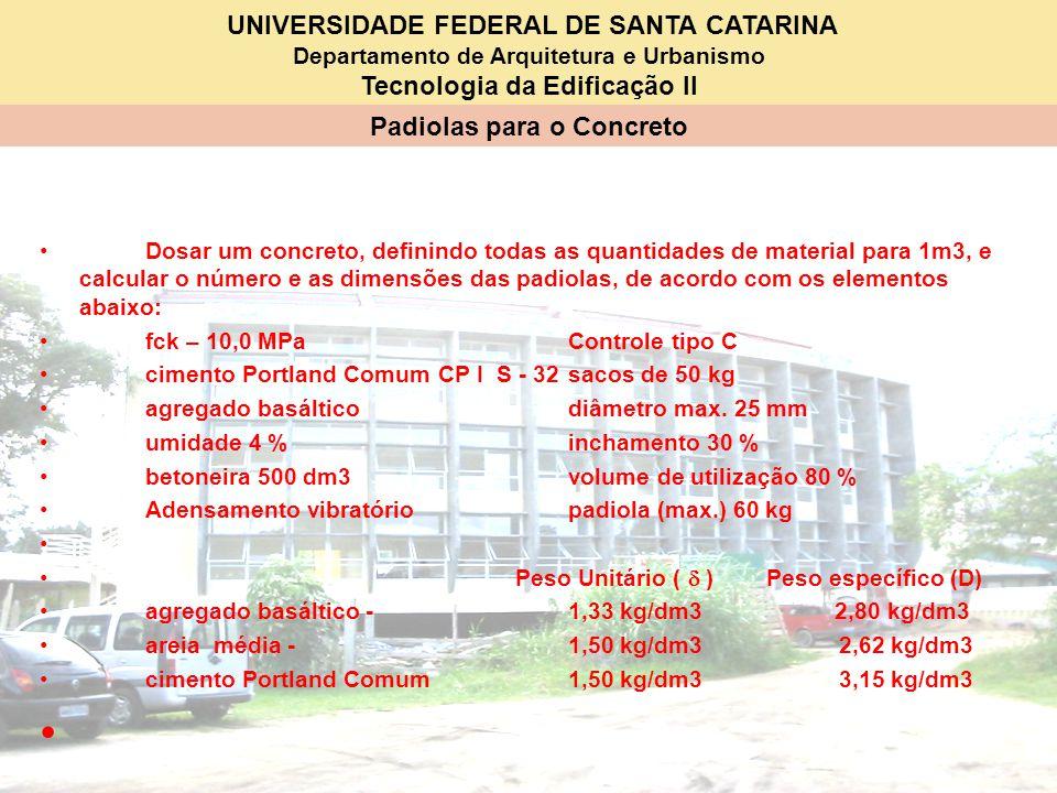 UNIVERSIDADE FEDERAL DE SANTA CATARINA Departamento de Arquitetura e Urbanismo Tecnologia da Edificação II Padiolas para o Concreto Dosar um concreto,