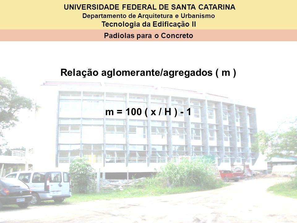 UNIVERSIDADE FEDERAL DE SANTA CATARINA Departamento de Arquitetura e Urbanismo Tecnologia da Edificação II Padiolas para o Concreto Relação aglomerant