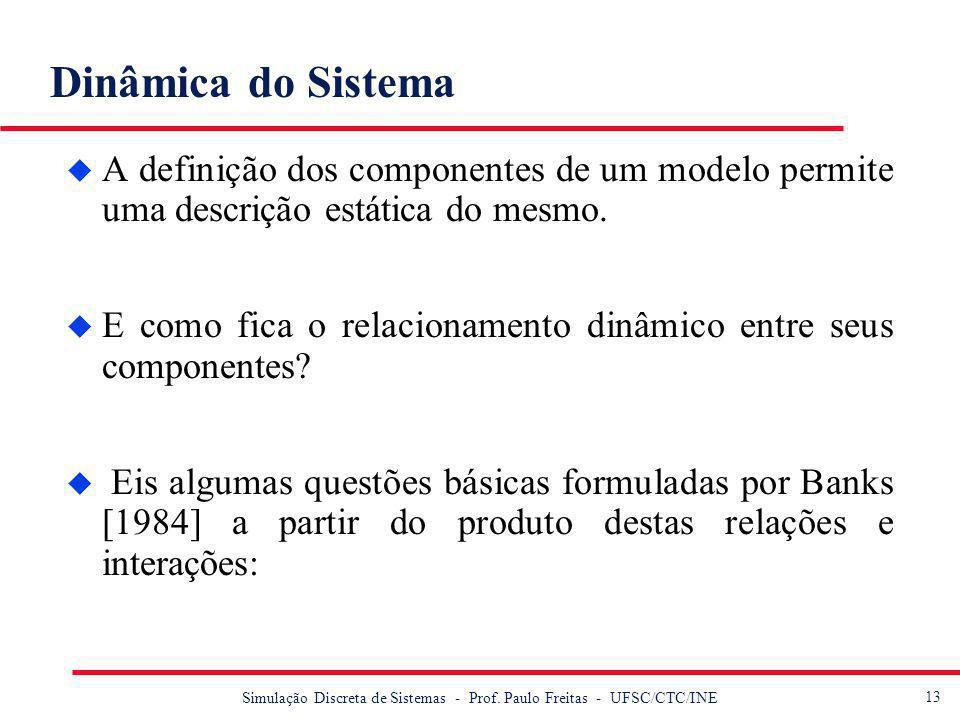 14 Simulação Discreta de Sistemas - Prof.Paulo Freitas - UFSC/CTC/INE Dinâmica do Sistema...