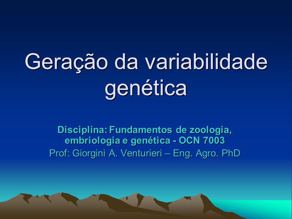 Geração da variabilidade genética Disciplina: Fundamentos de zoologia, embriologia e genética - OCN 7003 Prof: Giorgini A. Venturieri – Eng. Agro. PhD