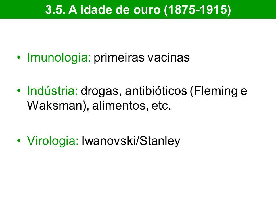Imunologia: primeiras vacinas Indústria: drogas, antibióticos (Fleming e Waksman), alimentos, etc. Virologia: Iwanovski/Stanley 3.5. A idade de ouro (
