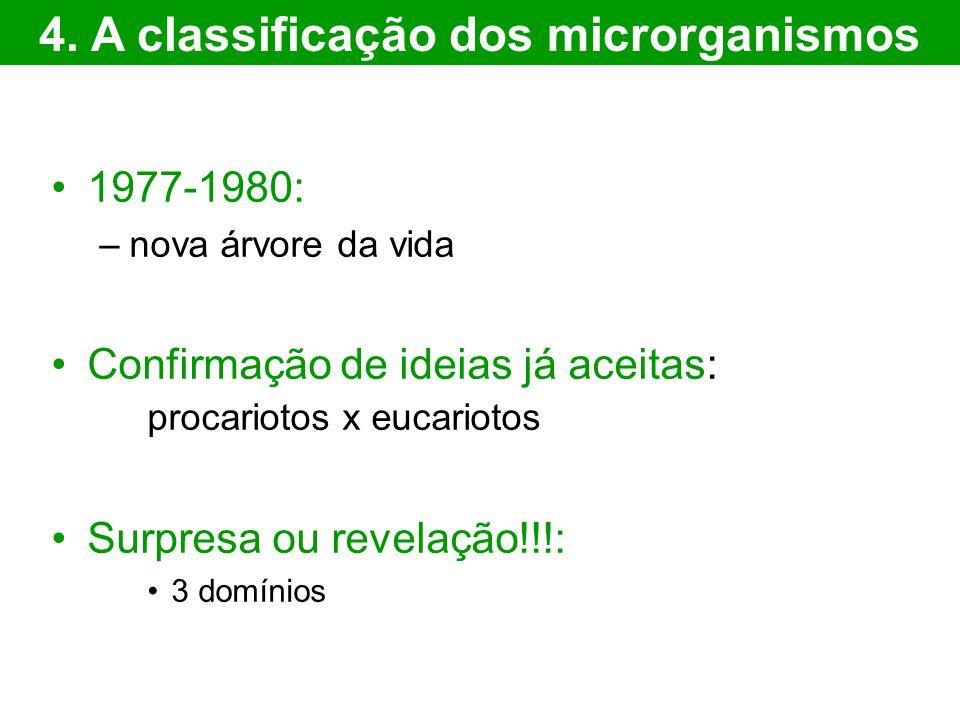 1977-1980: –nova árvore da vida Confirmação de ideias já aceitas: procariotos x eucariotos Surpresa ou revelação!!!: 3 domínios 4. A classificação dos