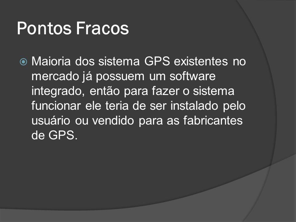 Pontos Fracos Maioria dos sistema GPS existentes no mercado já possuem um software integrado, então para fazer o sistema funcionar ele teria de ser instalado pelo usuário ou vendido para as fabricantes de GPS.