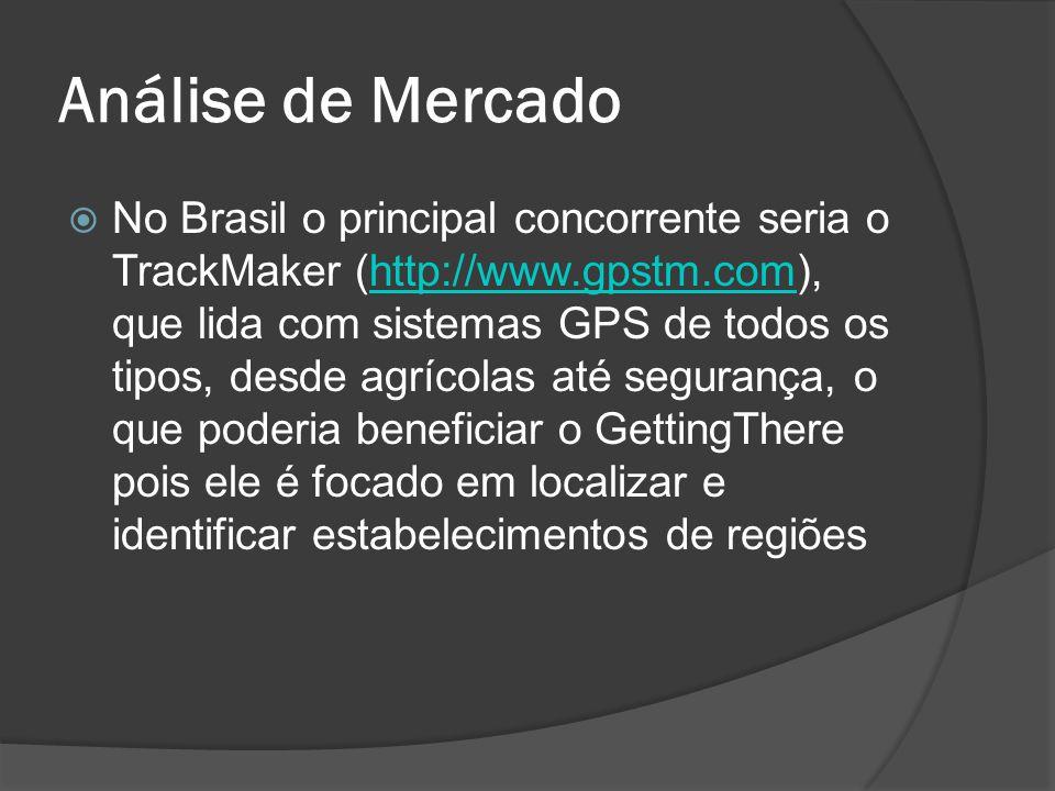 Análise de Mercado No Brasil o principal concorrente seria o TrackMaker (http://www.gpstm.com), que lida com sistemas GPS de todos os tipos, desde agrícolas até segurança, o que poderia beneficiar o GettingThere pois ele é focado em localizar e identificar estabelecimentos de regiõeshttp://www.gpstm.com