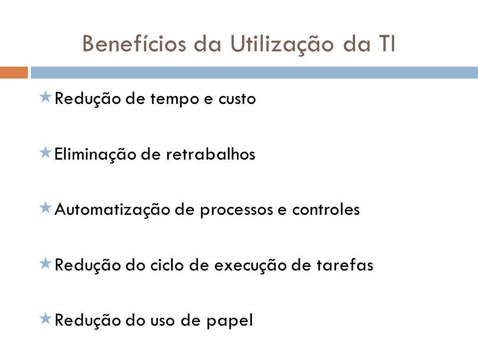 Benefícios da Utilização da TI Redução de tempo e custo Eliminação de retrabalhos Automatização de processos e controles Redução do ciclo de execução