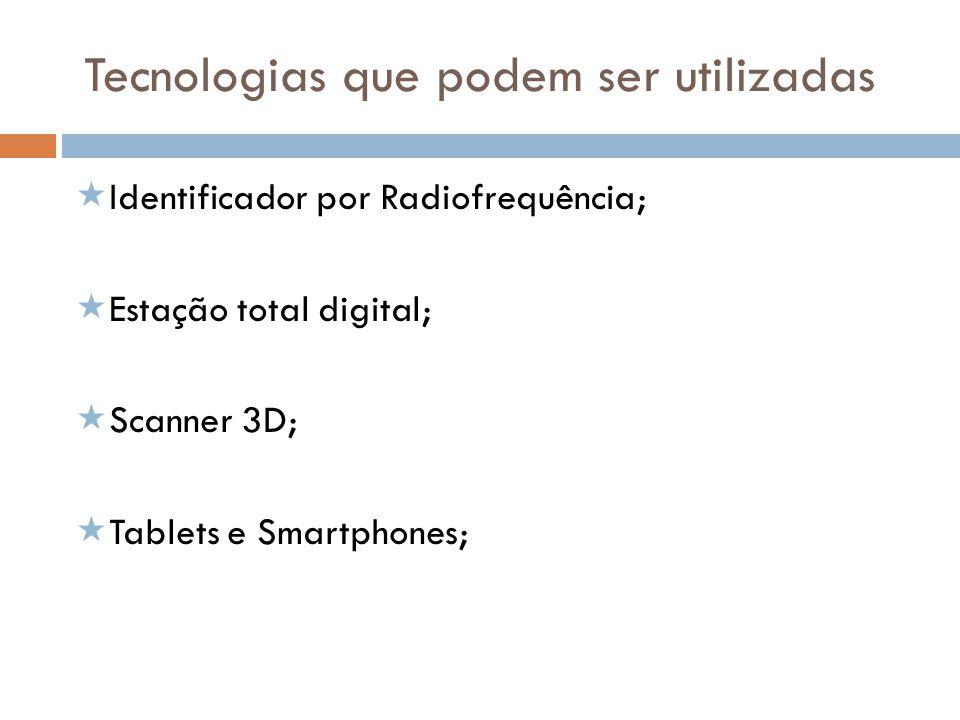 Tecnologias que podem ser utilizadas Identificador por Radiofrequência; Estação total digital; Scanner 3D; Tablets e Smartphones;