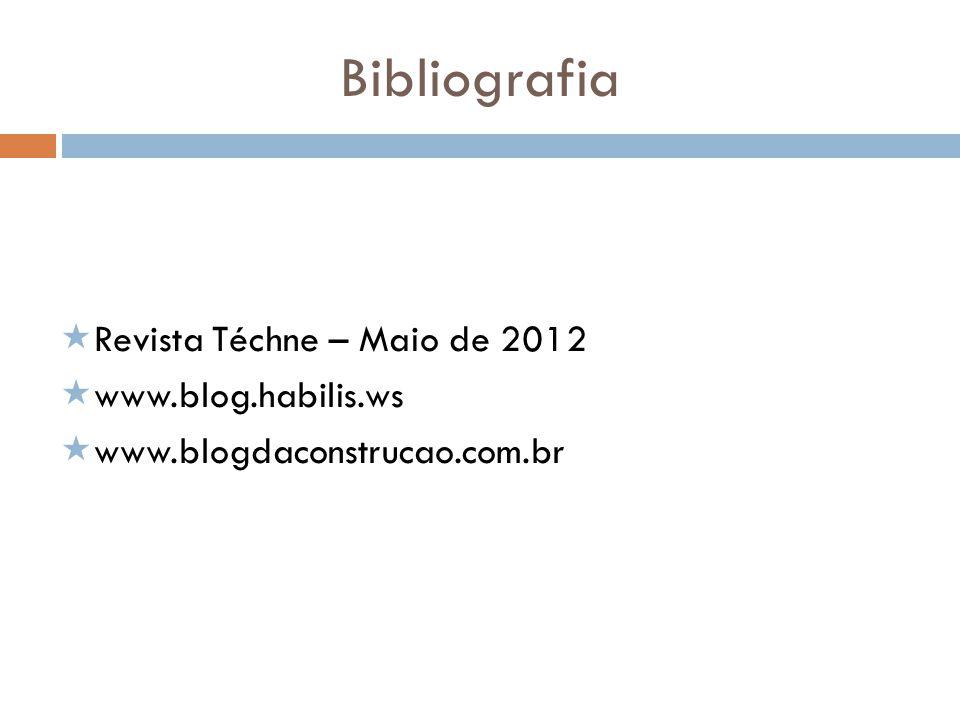 Bibliografia Revista Téchne – Maio de 2012 www.blog.habilis.ws www.blogdaconstrucao.com.br
