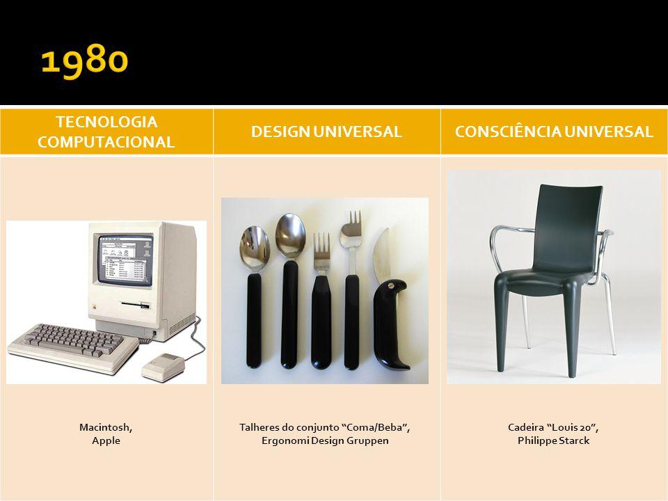 TECNOLOGIA COMPUTACIONAL DESIGN UNIVERSALCONSCIÊNCIA UNIVERSAL Macintosh, Apple Cadeira Louis 20, Philippe Starck Talheres do conjunto Coma/Beba, Ergo