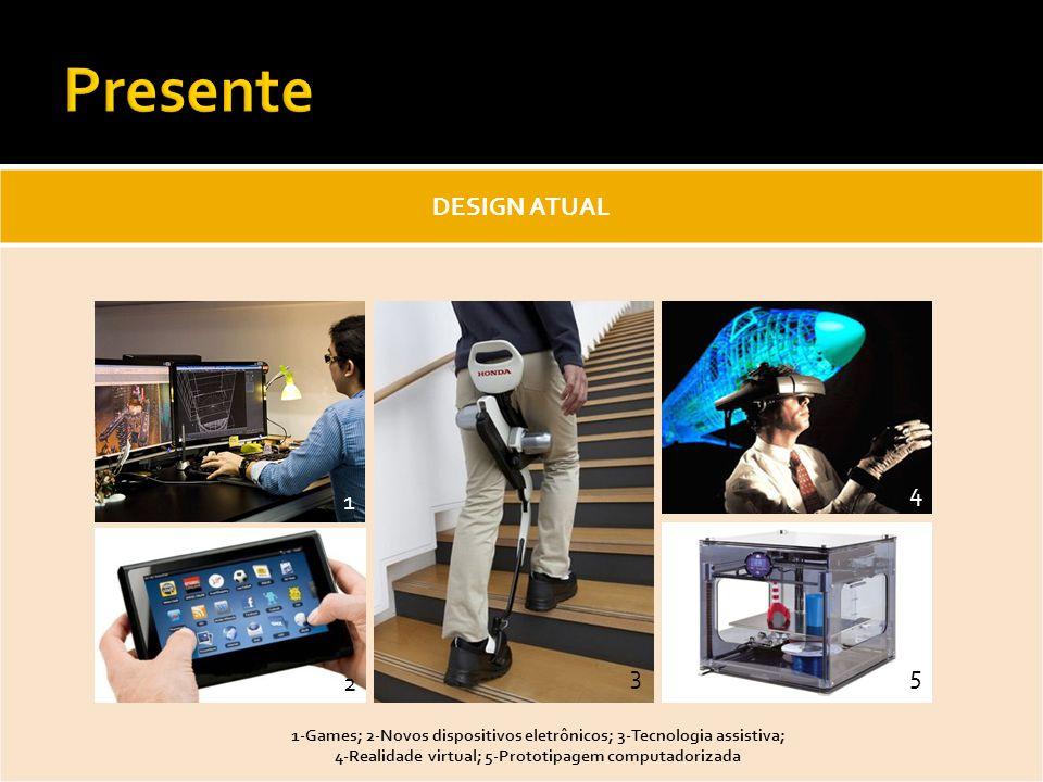 DESIGN ATUAL 1-Games; 2-Novos dispositivos eletrônicos; 3-Tecnologia assistiva; 4-Realidade virtual; 5-Prototipagem computadorizada 1 2 3 4 5