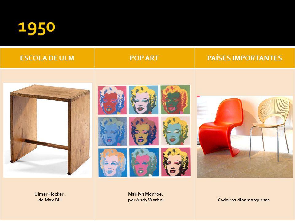 ESCOLA DE ULMPOP ARTPAÍSES IMPORTANTES Ulmer Hocker, de Max Bill Cadeiras dinamarquesas Marilyn Monroe, por Andy Warhol