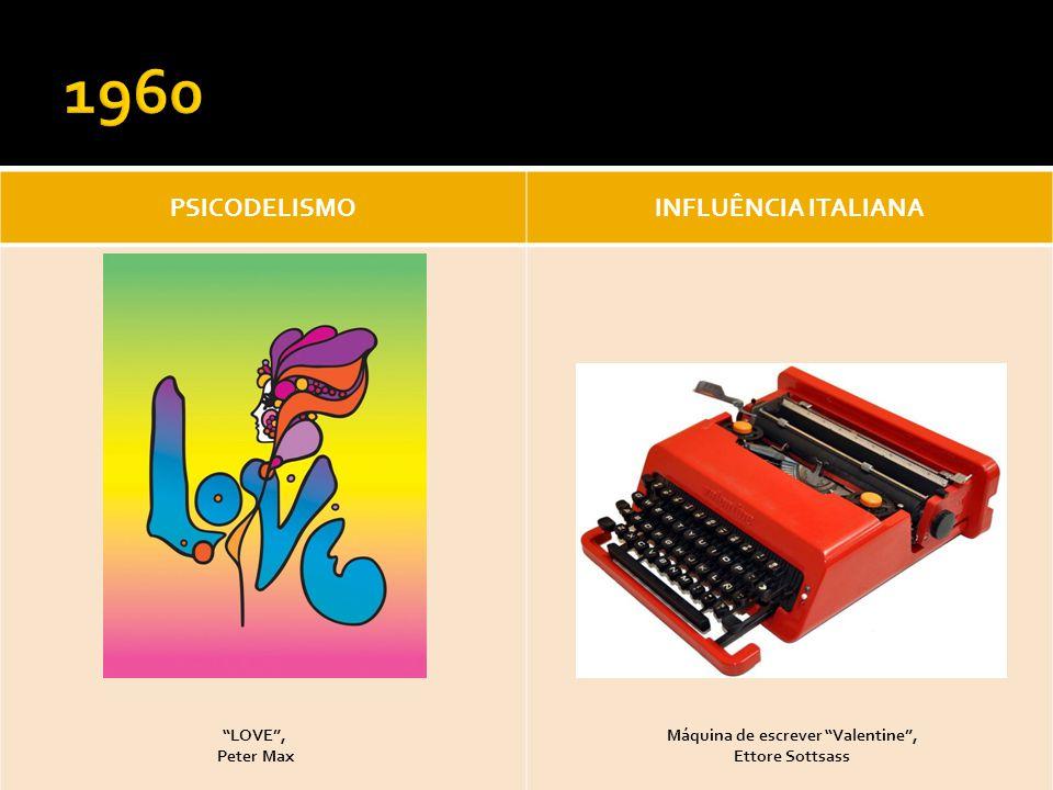 PSICODELISMOINFLUÊNCIA ITALIANA LOVE, Peter Max Máquina de escrever Valentine, Ettore Sottsass