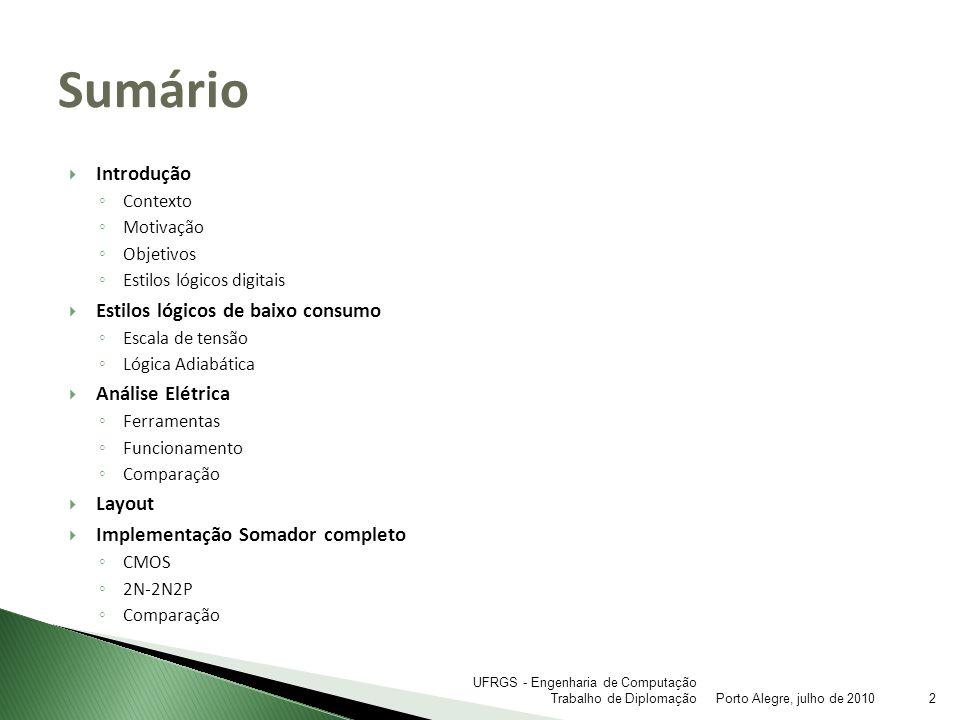 Implementação Full-Adder Comparação Porto Alegre, julho de 201023 UFRGS - Engenharia de Computação Trabalho de Diplomação