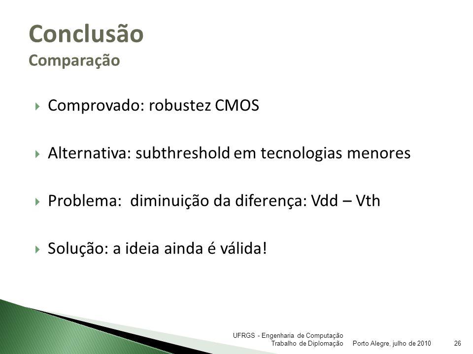 Comprovado: robustez CMOS Alternativa: subthreshold em tecnologias menores Problema: diminuição da diferença: Vdd – Vth Solução: a ideia ainda é válid