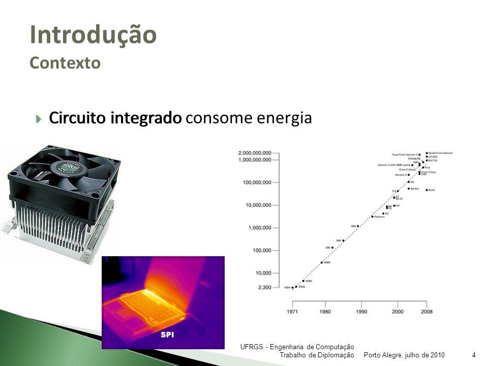 Ideia verde Menor dependência de fontes de energia não-renováveis Portáteis Maior duração da bateria Economia de energia Dissipação de calor Introdução Motivação Porto Alegre, julho de 20105 UFRGS - Engenharia de Computação Trabalho de Diplomação