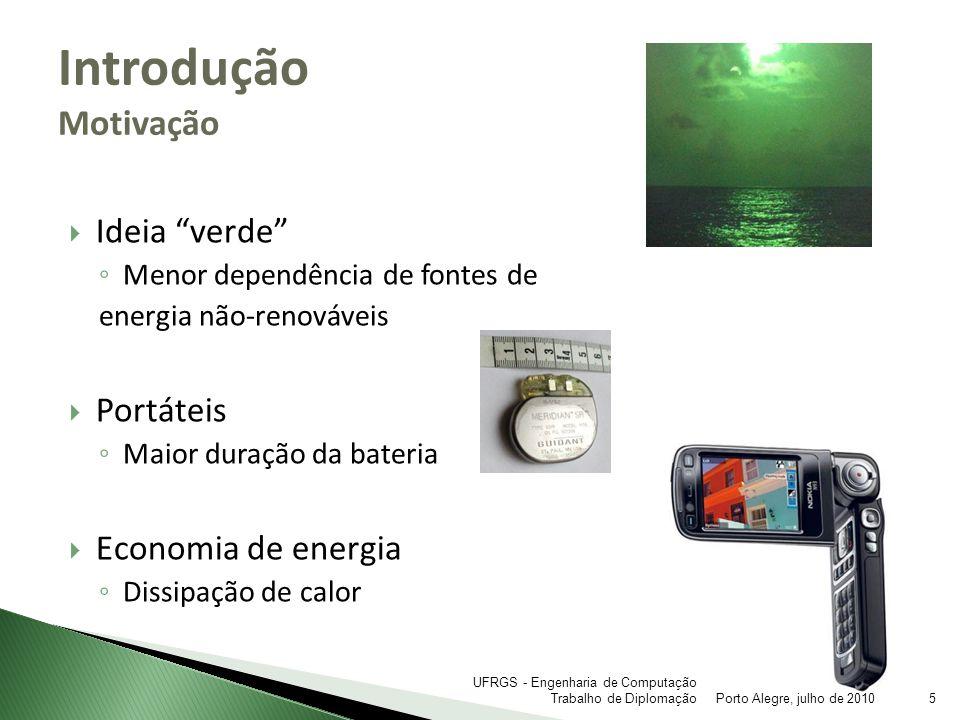 Ideia verde Menor dependência de fontes de energia não-renováveis Portáteis Maior duração da bateria Economia de energia Dissipação de calor Introduçã