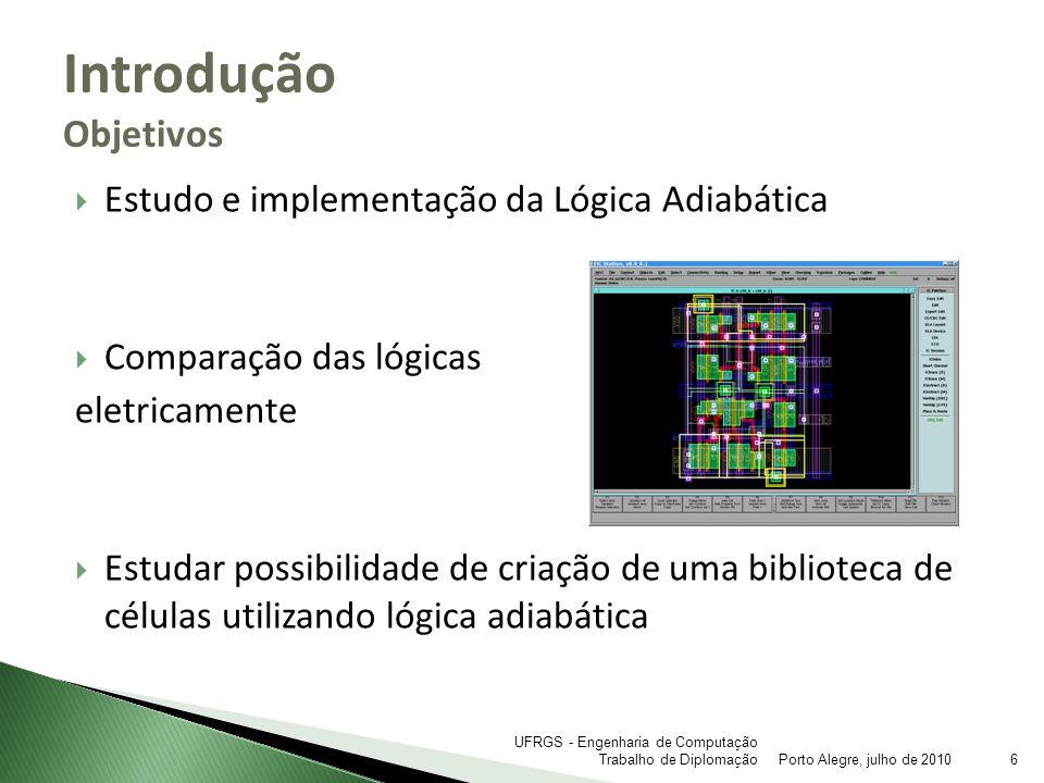 Estudo e implementação da Lógica Adiabática Comparação das lógicas eletricamente Estudar possibilidade de criação de uma biblioteca de células utiliza