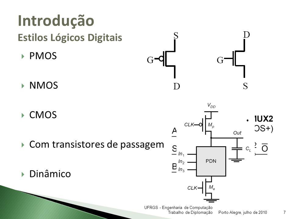PMOS NMOS CMOS Com transistores de passagem Dinâmico Introdução Estilos Lógicos Digitais Porto Alegre, julho de 20107 UFRGS - Engenharia de Computação