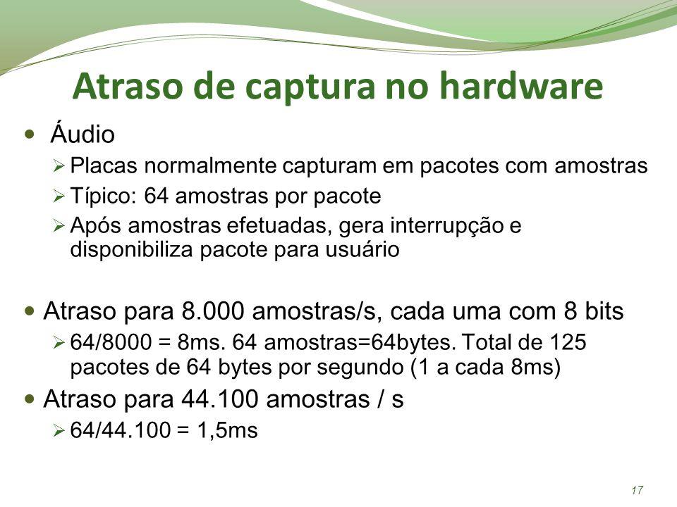 Atraso de captura no hardware Áudio Placas normalmente capturam em pacotes com amostras Típico: 64 amostras por pacote Após amostras efetuadas, gera i