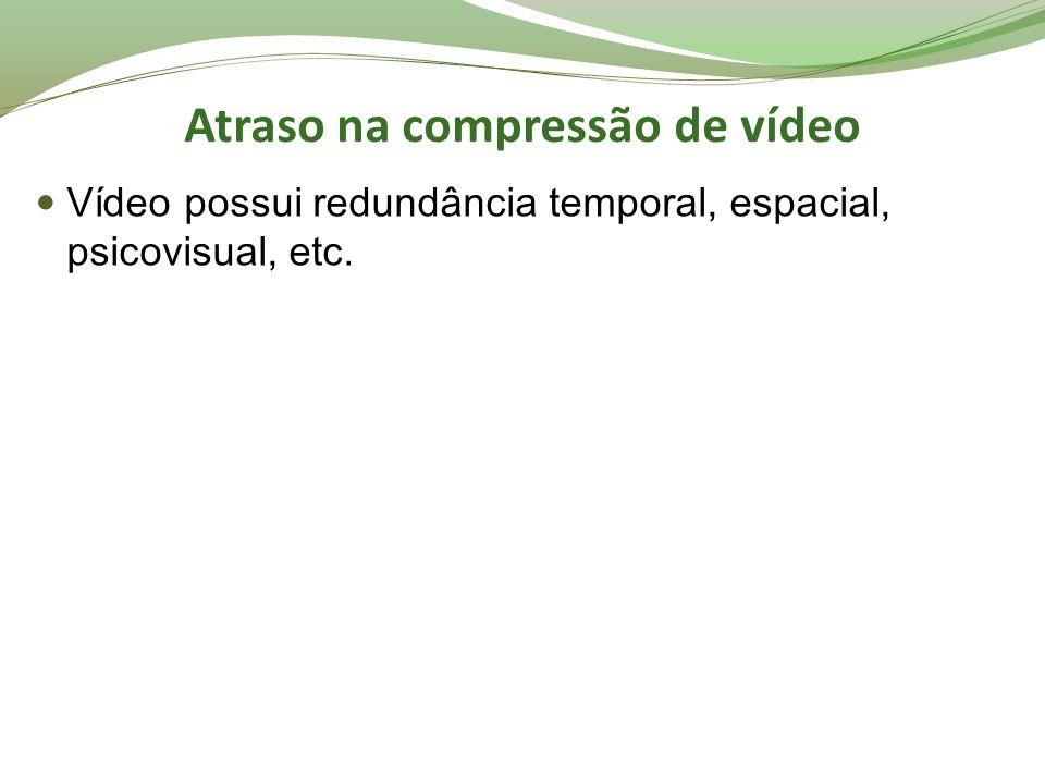 Atraso na compressão de vídeo Vídeo possui redundância temporal, espacial, psicovisual, etc.