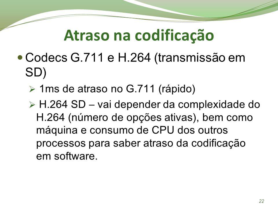 Atraso na codificação Codecs G.711 e H.264 (transmissão em SD) 1ms de atraso no G.711 (rápido) H.264 SD – vai depender da complexidade do H.264 (númer