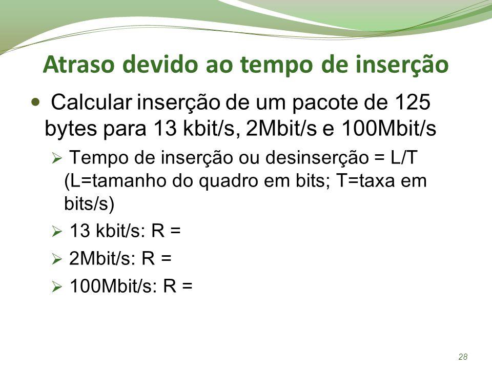 Atraso devido ao tempo de inserção Calcular inserção de um pacote de 125 bytes para 13 kbit/s, 2Mbit/s e 100Mbit/s Tempo de inserção ou desinserção =