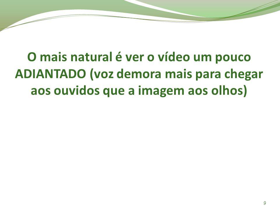 O mais natural é ver o vídeo um pouco ADIANTADO (voz demora mais para chegar aos ouvidos que a imagem aos olhos) 9