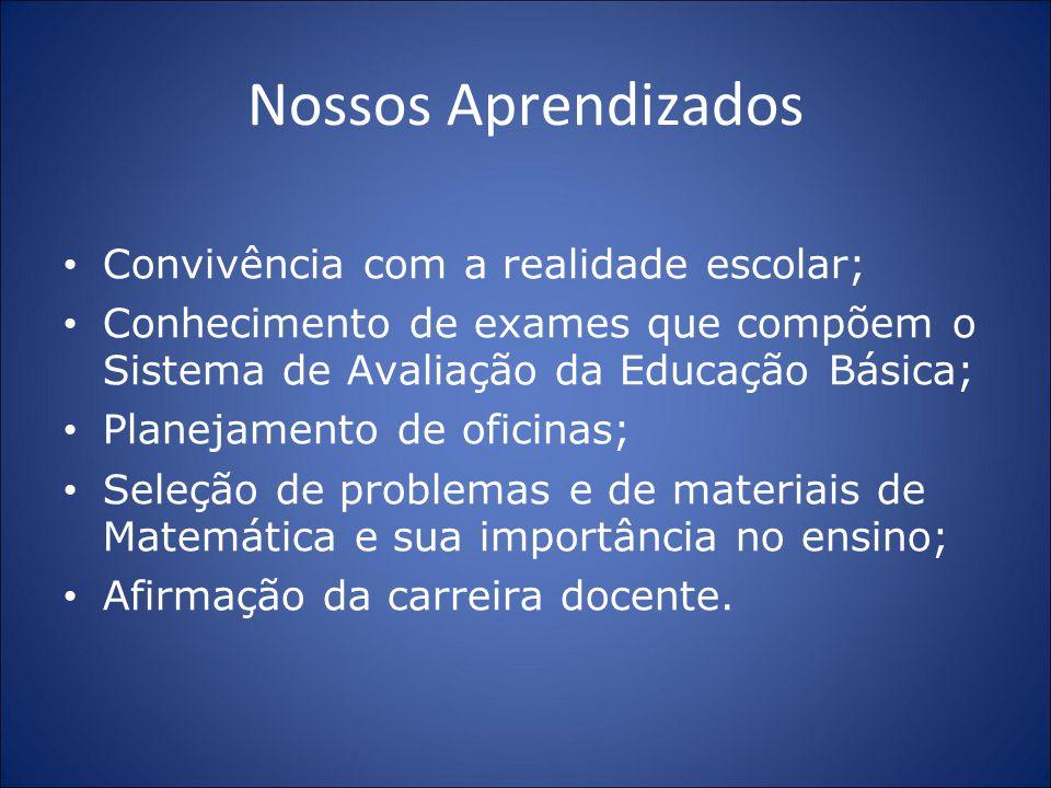 Nossos Aprendizados Convivência com a realidade escolar; Conhecimento de exames que compõem o Sistema de Avaliação da Educação Básica; Planejamento de